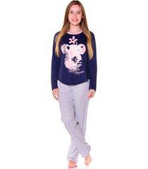 pijama adulto evanilda camiseta manga longa e calã§a minni marinho e rosa - azul marinho - feminino - algodã£o - dafiti