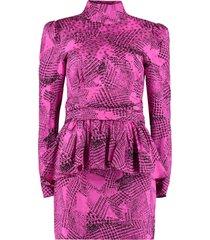 alessandra rich printed silk mini-dress