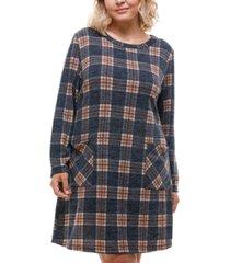monteau trendy plus size plaid sweater dress