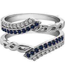 0.40 ct sapphire & diamond enhancer wrap wedding ring 14k white gold finish