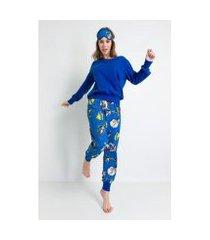 pijama longo acuo de meia malha de algodão heróis feminino