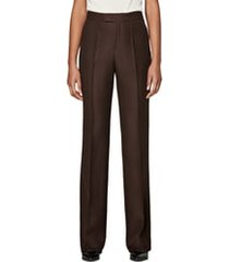 women's suistudio ally pintuck seam wool trousers, size 4 us / 36 eu - brown