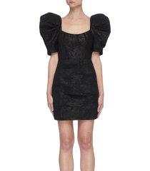 'merion' floral jacquard puffed sleeve mini dress