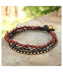 jasper and agate beaded bracelet, 'natural mix' (thailand)
