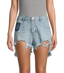 le wolves mid-rise ripped denim shorts
