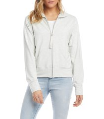 karen kane french terry zip hoodie, size x-large in heather grey at nordstrom