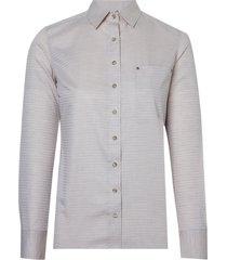 camisa dudalina manga longa tricoline fio tinto maquinetado feminina (bege medio, 46)