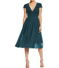 women's dress the population corey chiffon fit & flare cocktail dress, size xx-small - green