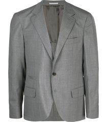 brunello cucinelli v-neck suit jacket - grey