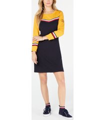 tommy hilfiger striped-trim cotton sweatshirt dress, created for macy's