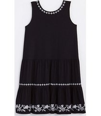 loft petite embroidered tie back tiered swing dress