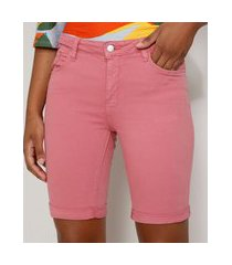 bermuda de sarja feminina ciclista cintura média com barra dobrada rosa