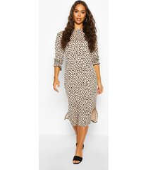dalmatian print puff sleeve midi dress, stone