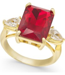 charter club gold-tone crystal & stone ring, created for macy's