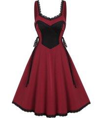contrast lace trim lace up cami a line dress