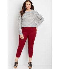maurices plus size womens pull on textured bengaline crop pants