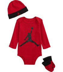 infant boy's nike jumpman baby long sleeve bodysuit, beanie & booties set, size 0-6m - red