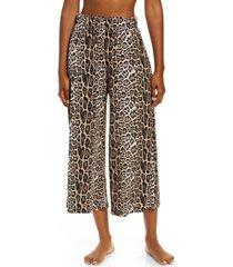 onzie sama crop wide leg pants, size medium in leopard at nordstrom