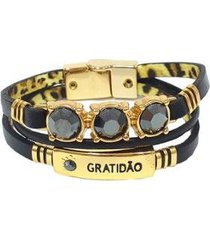 pulseira armazem rr bijoux couro três voltas gratidão preta - feminino