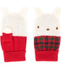 familiar knitted bunny mittens - red
