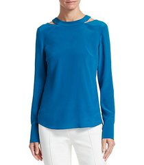 semi circle cut out silk blouse