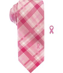 susan g komen men's slim plaid tie with lapel pin