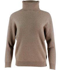 brunello cucinelli english rib cashmere turtleneck sweater with monili on the back