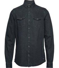 ams blauw denim western shirt in seasonal washes skjorta casual svart scotch & soda