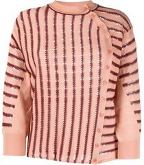 chloé striped knitted cardigan
