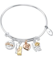 """unwritten """"love"""" cat and dog paw charm adjustable bangle bracelet in tri-tone & stainless steel with silver plated charms"""