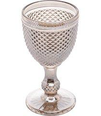 conjunto 6 taças vidro para água bico de jaca cinza 300ml