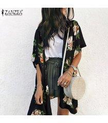 zanzea para mujer delantera abierta larga floral remata la blusa de verano cardigan outwear coat -negro