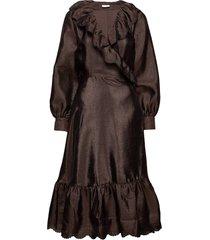 steffi, 699 textured polyester jurk knielengte bruin stine goya
