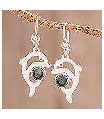 jade dangle earrings, 'dark green dolphin' (guatemala)