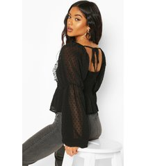 dobby chiffon ruffle blouse, black