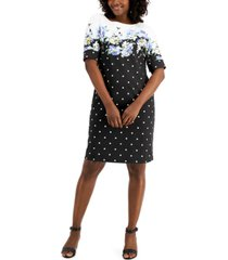 karen scott country bloom dress mixed-print dress, created for macy's