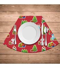 jogo americano para mesa redonda wevans elementos natalinos vermelho kit com 6 pçs