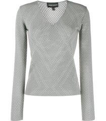 emporio armani textured v-neck sweatshirt - grey