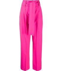 msgm tie-waist straight-leg trousers - pink