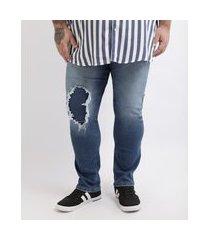 calça jeans masculina plus size slim destroyedazul médio