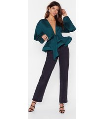 womens pleat don't call plunging tie blouse - teal