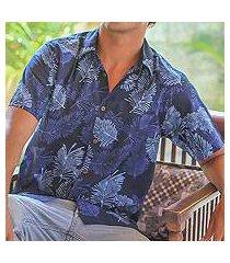 men's cotton batik shirt, 'ocean breeze' (indonesia)