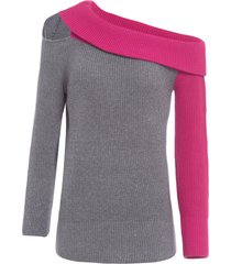 blusa feminina tricot pala ombro - cinza