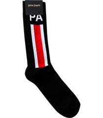 ribbed side stripe logo socks