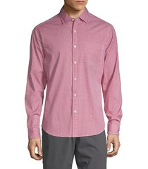 saks fifth avenue men's gingham-print long-sleeve shirt - country blue - size xxl