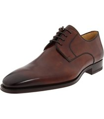 handmade mens derby plain brown leather shoes, men's dress real leather shoes