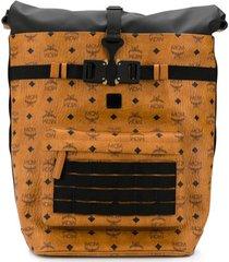 mcm 1976 roll-top backpack - marrom