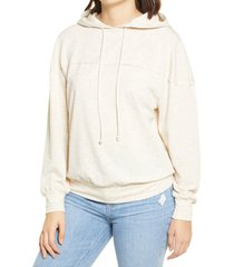 women's all in favor seam detail hoodie, size large - beige