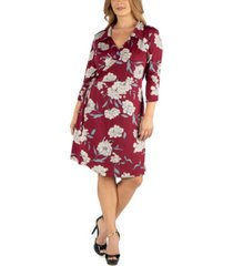 24seven comfort apparel collared burgundy floral print plus size wrap dress