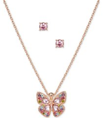 charter club rose gold-tone multicolor crystal butterfly pendant necklace & stud earrings set, created for macy's